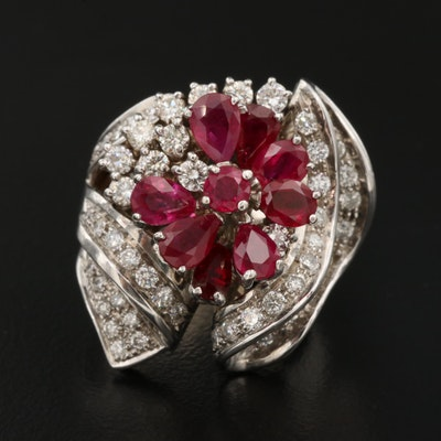 18K Ruby and 1.44 CTW Diamond Cluster Ring