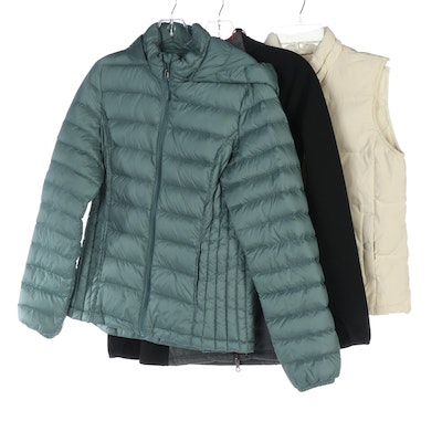 Gap Down Vest, 32 DEGREES Packable Down Jacket and Athleta Performance Jacket