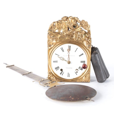 Comtoise Repoussé Brass Wall Clock with Pendulum, 19th Century