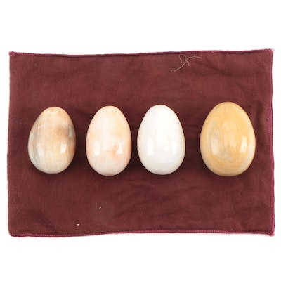 Polished Onyx and Banded Calcite Stone Eggs
