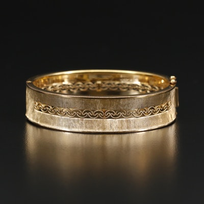 Gold Filled Hinged Bangle Featuring Filigree Design