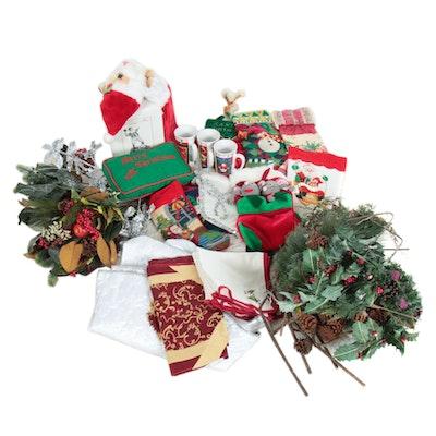 Christmas Tree Skirt, Stockings, Linen Napkins, Mugs and Other Decor