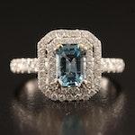 14K Aquamarine and Diamond Double Halo Ring