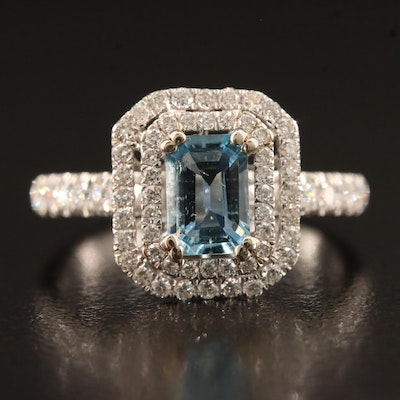 14K Aquamarine and Diamond Double Halo Ring