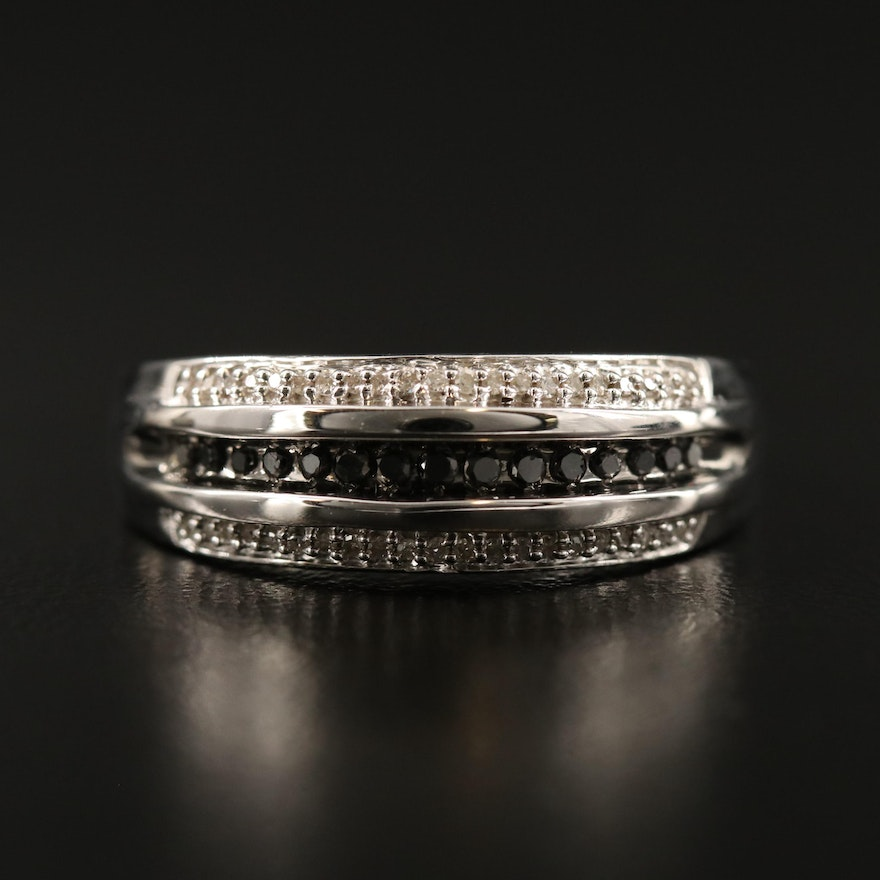 Sterling Silver Diamond Channel Ring