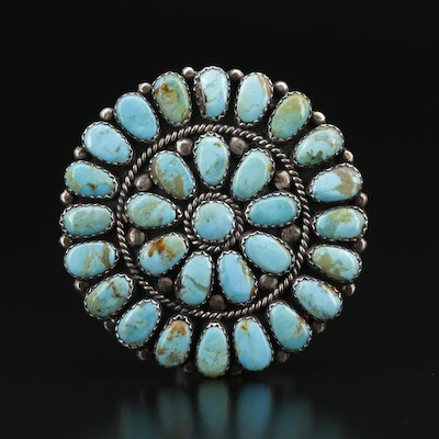 Western Sterling Silver Petit Point Turquoise Brooch