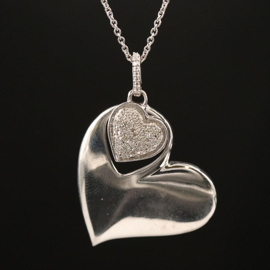 Sterling Silver Diamond Double Heart Pendant Necklace