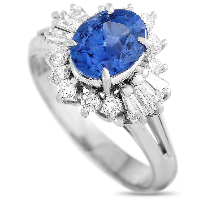 Platinum 0.46 ct Diamond and Sapphire Ring