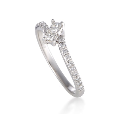 ~.50ct Curved 14K White Gold Diamond Engagement Ring