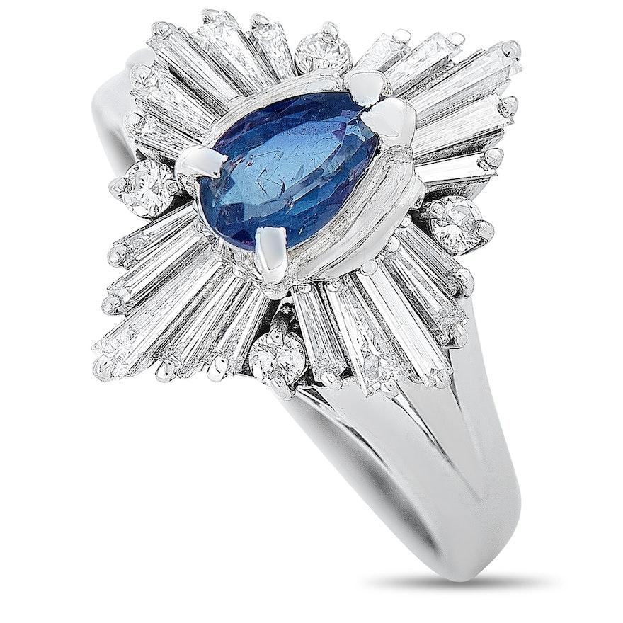 Platinum 0.62 ct Diamond and Alexandrite Ring