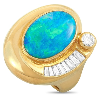 18K Yellow Gold Diamond and Opal Ring