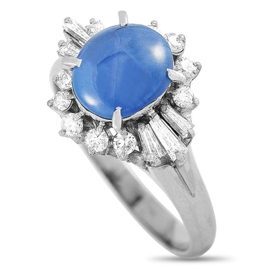 Platinum 0.31 ct Diamond and Sapphire Ring
