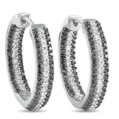 14K White Gold 1.00 ct Diamond Hoop Earrings
