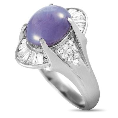 Platinum 0.51 ct Diamond and Sapphire Oval Ring