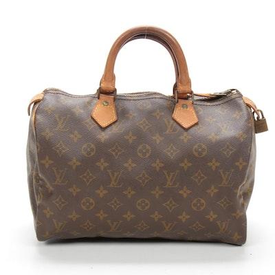 Louis Vuitton Speedy 30 Satchel in Monogram Canvas and Vachetta Leather