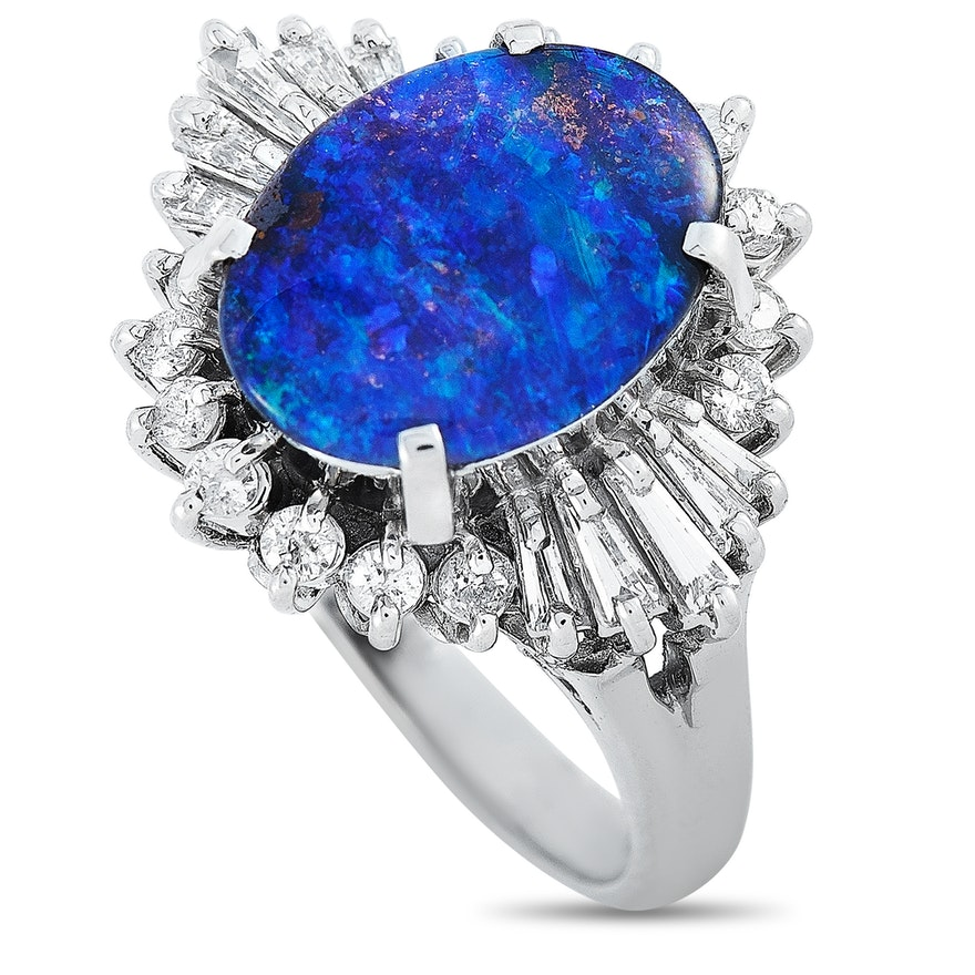 LB Exclusive Platinum 0.46 ct Diamond and Opal Ring