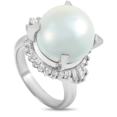 LB Exclusive Platinum 0.77 ct Round and Tapered Baguette Diamonds and Pearl Ring