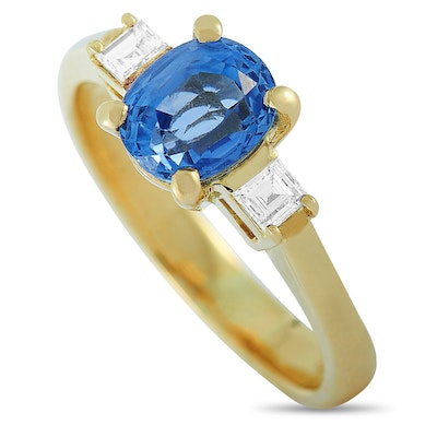 18K Yellow Gold 0.16 ct Diamond and Sapphire Ring