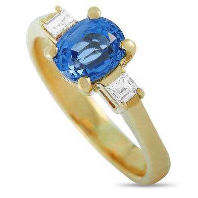 18K Yellow Gold 0.16 ct Diamond and Sapphire Ring