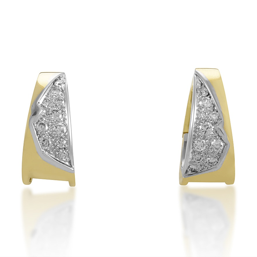 LB Exclusive Vintage 18K Yellow & White Gold Diamond Earrings