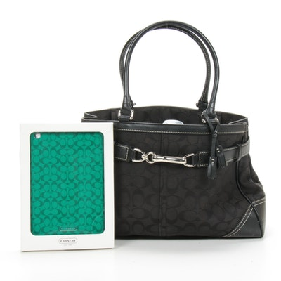 Coach Tote Bag in Signature Canvas and Leather with iPad Mini Case