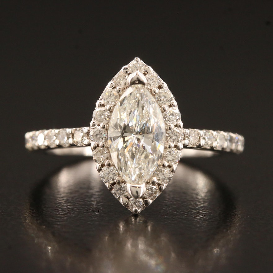 14K 1.73 CTW Marquise Faceted Diamond Ring