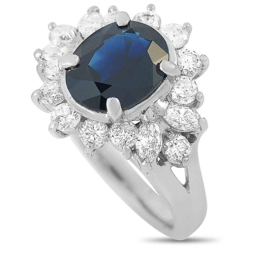 LB Exclusive Platinum 1.14 ct Diamond and Sapphire Ring