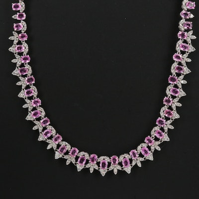 14K Sapphire and 5.25 CTW Diamond Necklace