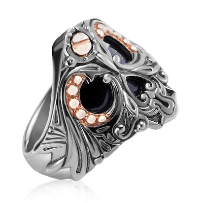Stephen Webster No Regrets Sterling Silver Gold-Tone Onyx Skull Ring