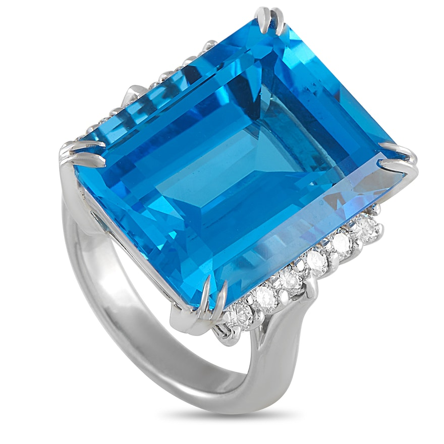 LB Exclusive Platinum 0.50 ct Diamond and Topaz Ring
