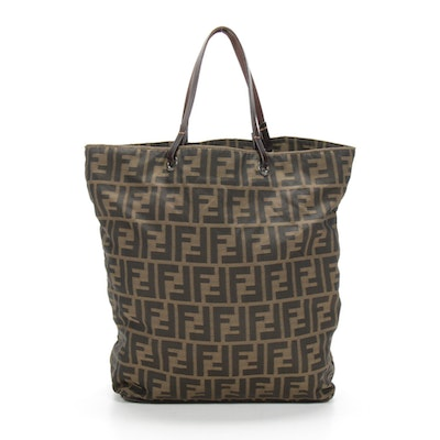 Fendi Tote in Monogram Zucca Canvas and Leather