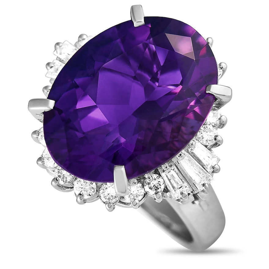 Platinum 0.67 ct Diamond and Amethyst Oval Ring