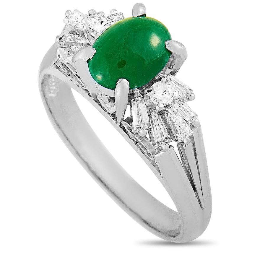 Platinum 0.36 ct Diamond and Jade Ring