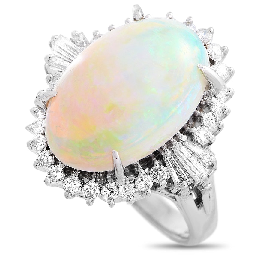 Platinum 0.53 ct Diamond and Opal Ring