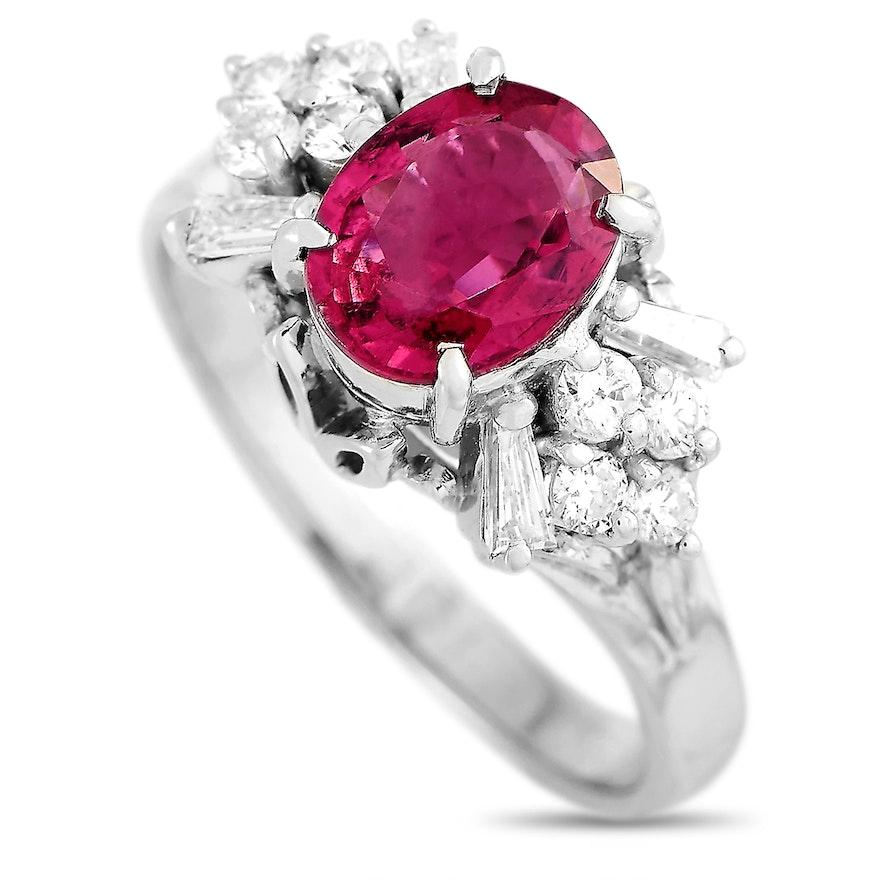 Platinum 0.43 ct Diamond and Tourmaline Ring
