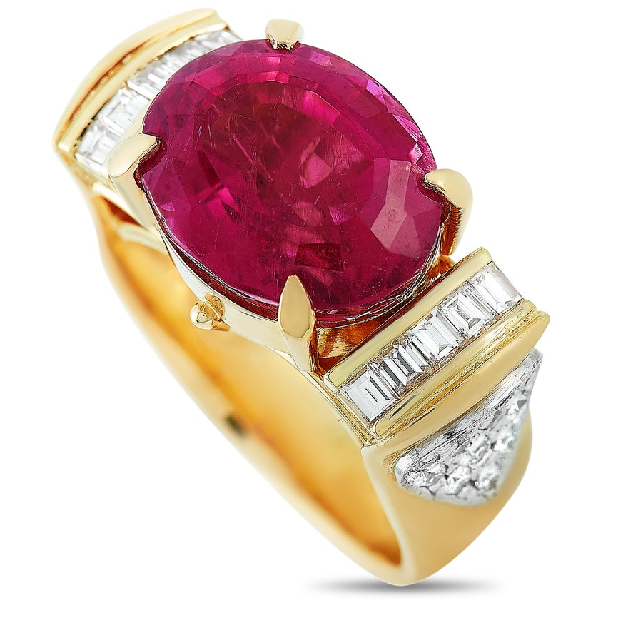 LB Exclusive 18K Yellow Gold 0.68 ct Diamond and Tourmaline Ring