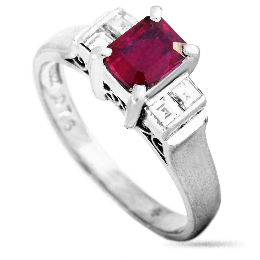 LB Exclusive Platinum 0.21 ct Diamond and Ruby Ring