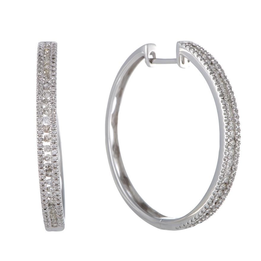 LB Exclusive 14K White Gold 3-Row 1.06 Carat VS1 G Color Diamond Hoop Earrings
