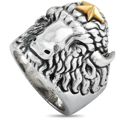 King Baby Sterling Silver Star Buffalo Ring