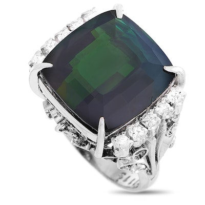 LB Exclusive Platinum 0.26 ct Diamond and Tourmaline Ring