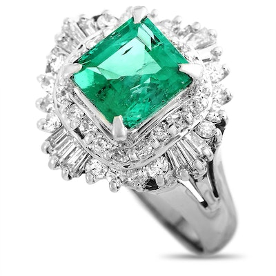 LB Exclusive Platinum 0.70 ct Diamond and Emerald Ring