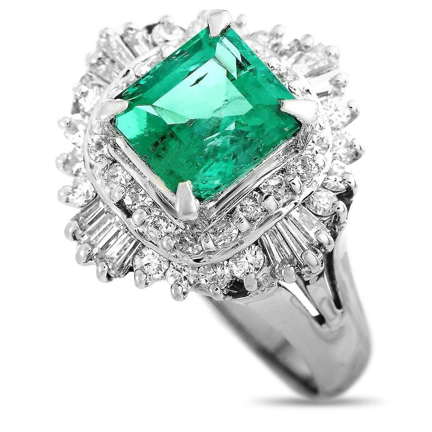 LB Exclusive Platinum 0.70 ct Diamond and Emerald Ring