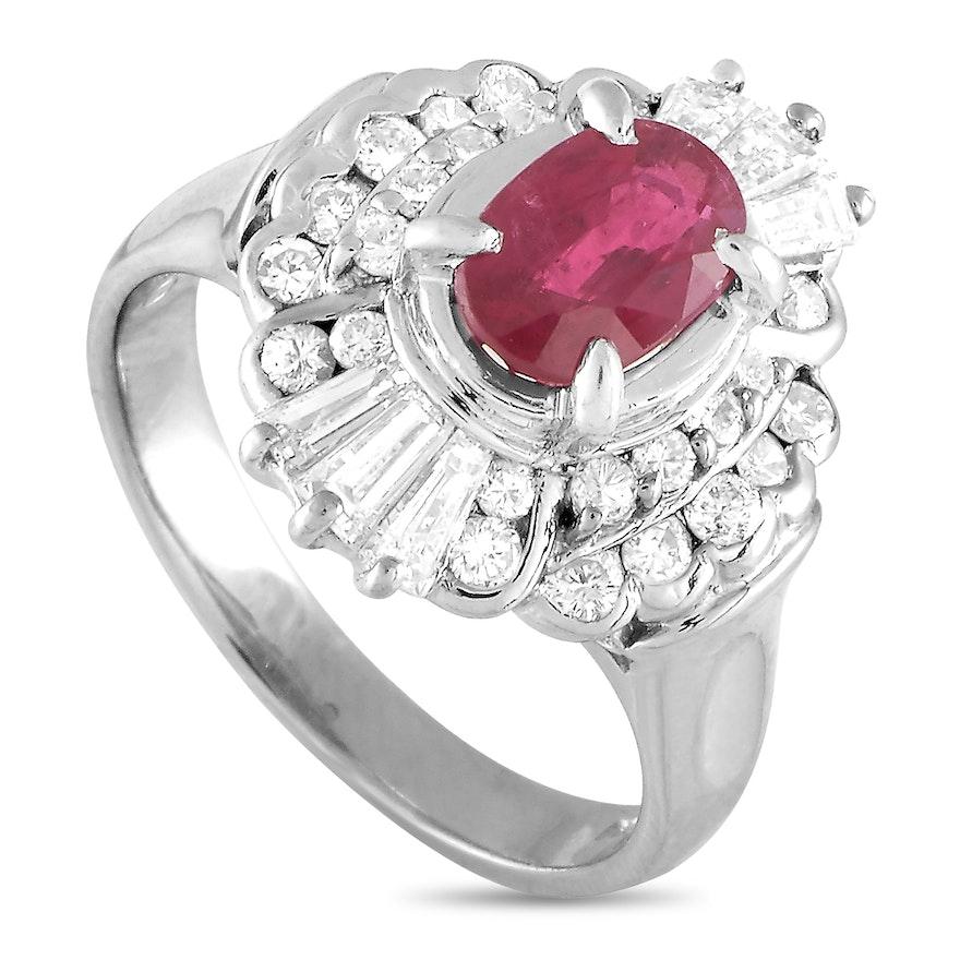 Platinum 1.00 ct Diamond and Ruby Ring