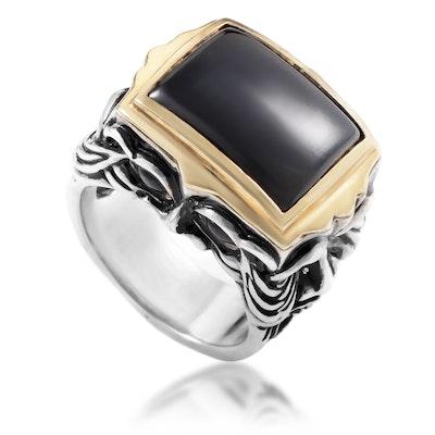 Stephen Webster Silver & 18K Yellow Gold Black Jade & Garnet Gargoyle Men's Ring