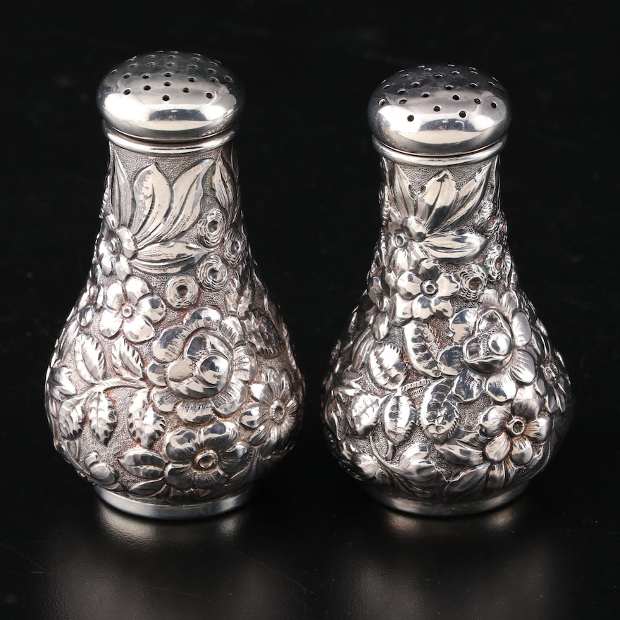 Davis & Galt Sterling Silver Repoussé Salt and Pepper Shakers, Late 19th Century