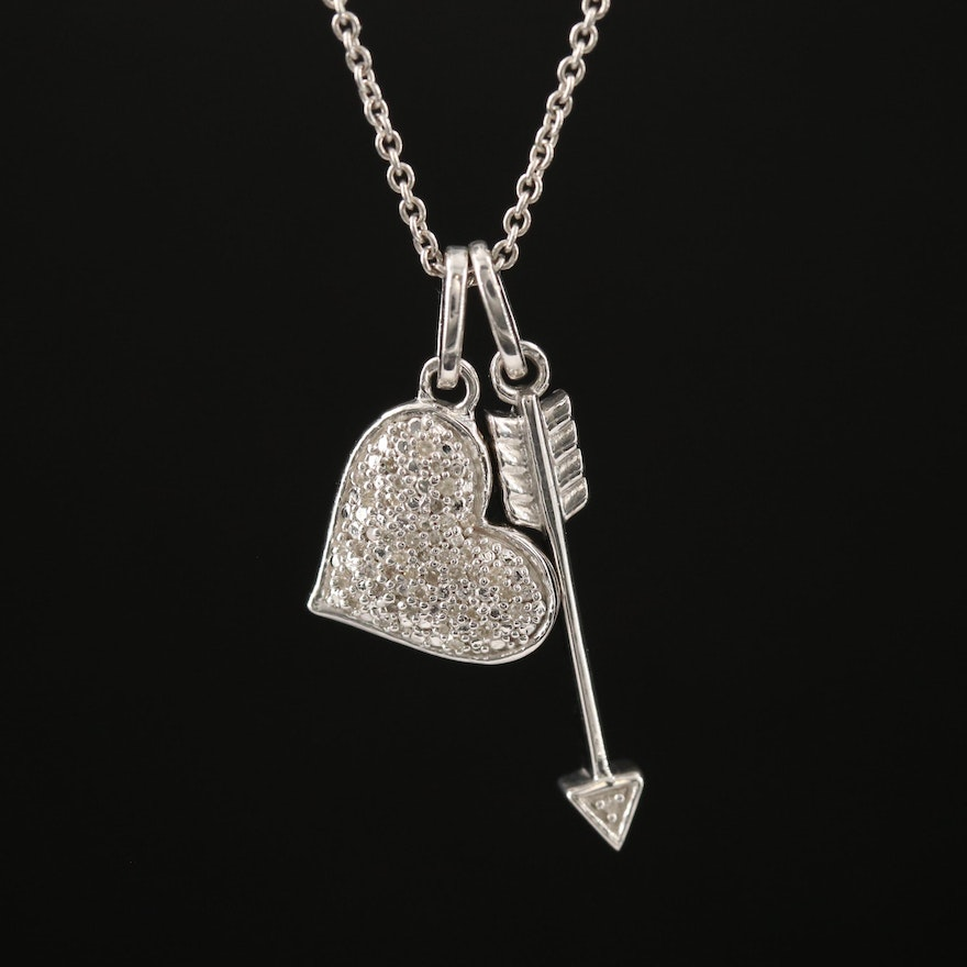 Sterling Silver Diamond Heart and Arrow Pendant Necklace