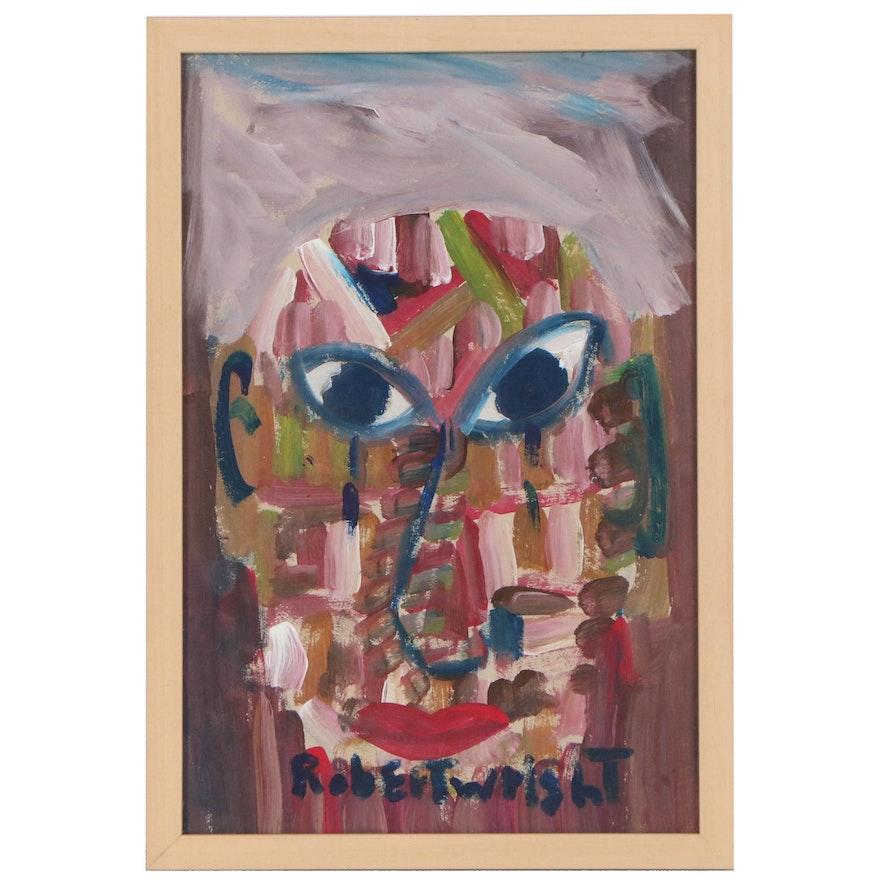 Robert Wright Folk Art Acrylic Painting of Face, Late 20th Century