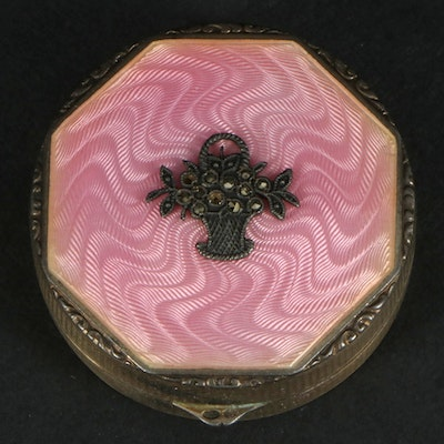 British Import Sterling and Pink Guilloché Enamel Powder Compact