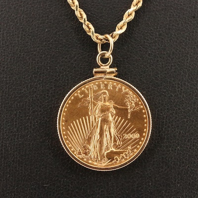 14K Necklace with 2000 Gold Eagle Bullion Coin