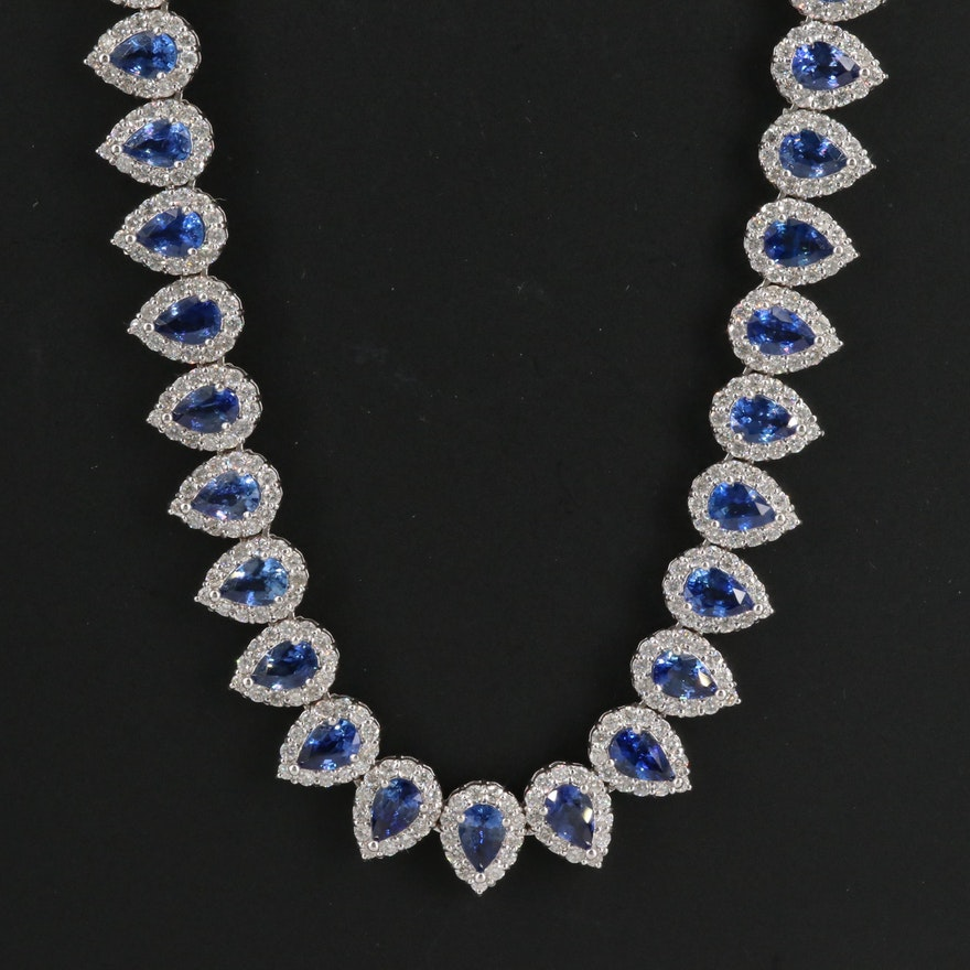 18K 8.41 CTW Diamond and Sapphire Necklace
